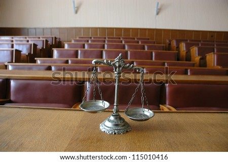 Symbol Of Law And Justice In The Empty Courtroom, Law And ...