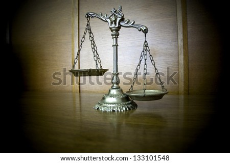 Symbol of law and justice on the table , law and justice concept