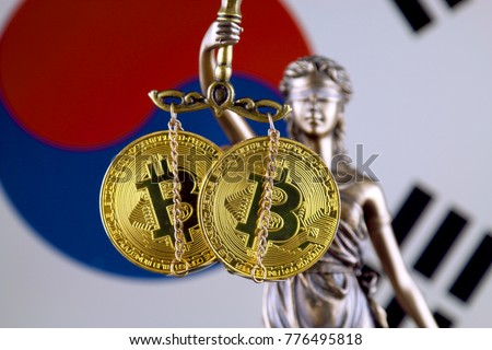 Symbol of law and justice, physical version of Bitcoin and South Korea Flag. Prohibition of cryptocurrencies, regulations, restrictions or security, protection, privacy. #776495818