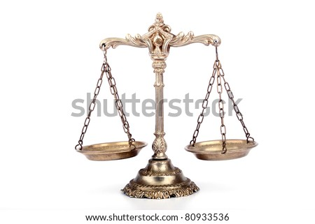 Symbol of law and justice. Scale on white isolated background.Law and justice concept.