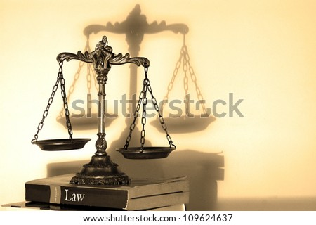 Symbol of law and justice with shadow, law and justice concept,