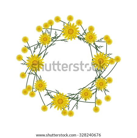 Symbol of Love, Illustration of Beautiful Crown or Laurel Wreath of Fresh Yellow Daisy Flowers Isolated on White Background. - Shutterstock ID 328240676