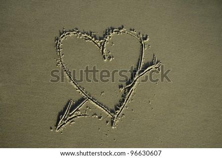Symbol of love on sand.