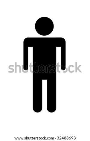 Symbol of male person seen on toilet doors in black silhouette.