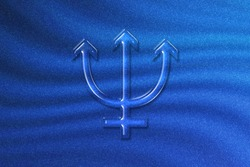 Symbol of Mercury, Mercury Sign, astrology Mercury planet, blue glitter background