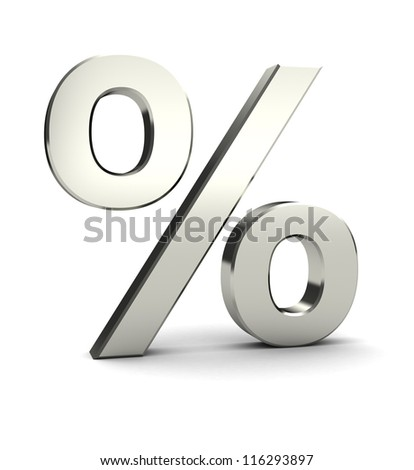 Symbol of percent isolated on white background, 3d image
