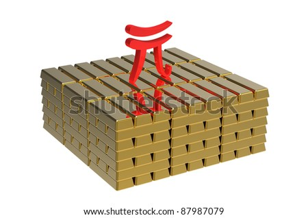 Symbol of renminbi on gold bars money concept
