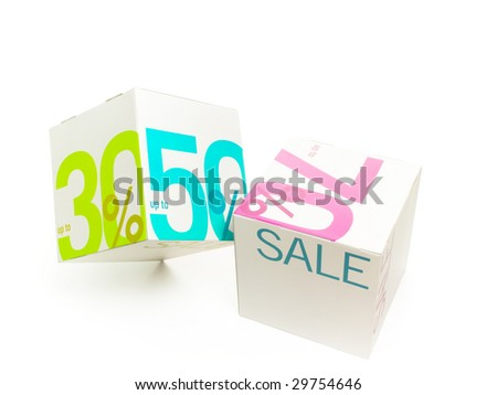 Symbol of sale on white cubes
