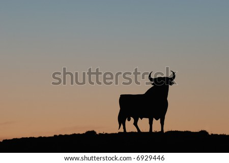Symbol of southern Spain - the famous Black Bull at sunset