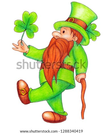 symbol of St. Patrick's Day is the grandfather gnome. Cheerful gnome with a thick beard and a hat with a clover. He walks with a cane and holds a clover in his hand, wearing a green jacket and pants.
