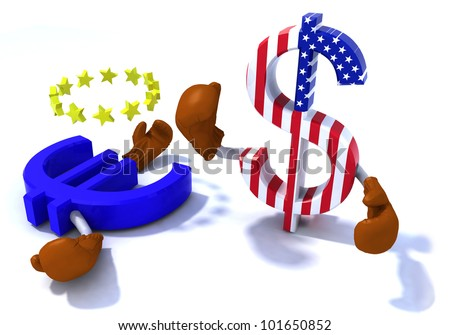 symbol of the dollar and euro fighting with boxing gloves, 3d illustration