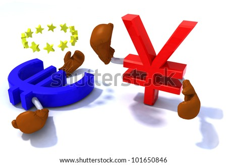 symbol of the yen and euro fighting with boxing gloves, 3d illustration
