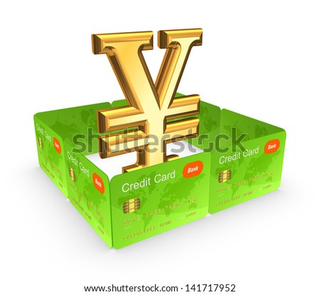 Symbol of yen behind the wall of credit cards.Isolated on white.3d rendered.