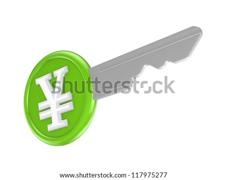 Symbol of yen on a key.Isolated on white background.3d rendered.