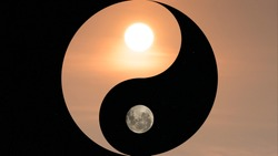Symbol of yin and yang, day and night, sun and moon