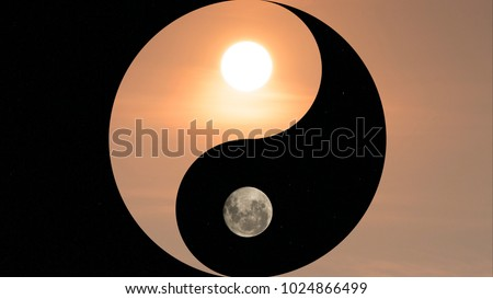Photo of  Symbol of yin and yang, day and night, sun and moon