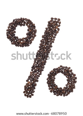 symbol percentage made with coffee beans on a white background