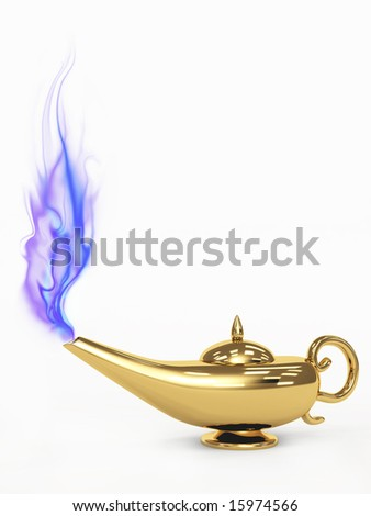 Symbol performance of desires - 3d magic lamp. Object over white
