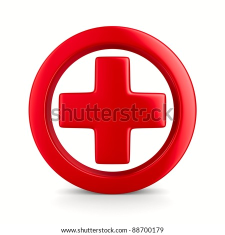 Symbol plus on white background. Isolated 3D image