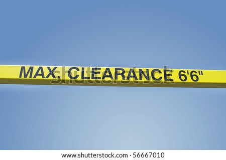symbol sign maximum clearance height warning yellow bar middle blue sky background