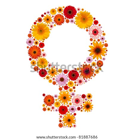 Symbol woman made from flowers isolated in white