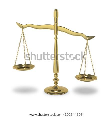 Symbolic balance of justice or law on white background - stock photo