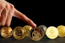 Symbolic cryptocurrency types represented as shiny coins are lined up against dark background. Among them dogecoin which started as a joke is currently gaining popularity