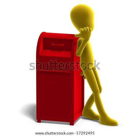 symbolic 3d male toon character say that you should drop your mail here. 3D rendering with clipping path and shadow over white