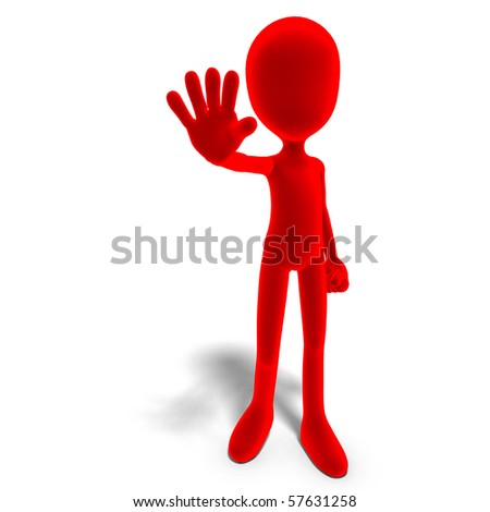symbolic 3d male toon character says stop. 3D rendering with clipping path and shadow over white