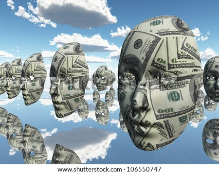 Symbolic floating faces with sureface of USA Currency