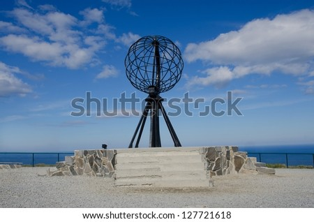 Symbolic globe at the North Cape/ Nordkapp, Norway
