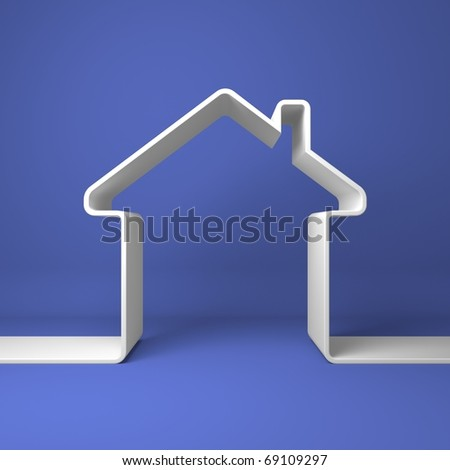 Symbolic house on the coloured background