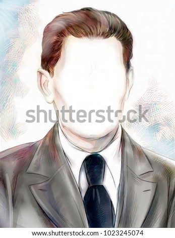 symbolic illustration of a faceless man portrait