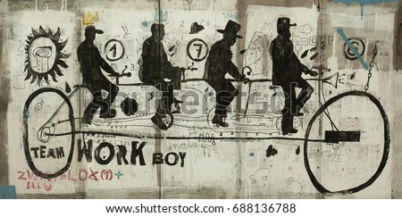 Symbolic image of a sports bike in the style of graffiti