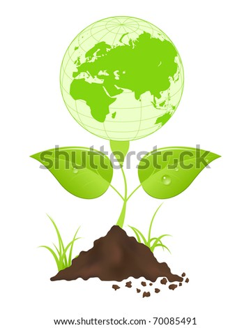 Symbolic image with green earth globe and leaves.
