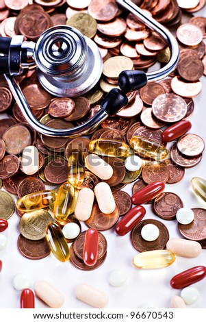 symbolic picture for medical care and financial problems