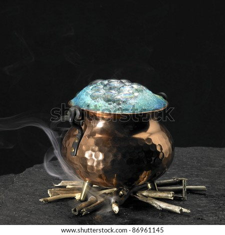 symbolic picture with spumous potion and copper cauldron on a fireplace