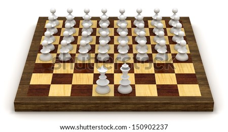 Stock Photo Symbolic revolution - lots of pawns in the front of the king and queen on the chessboard