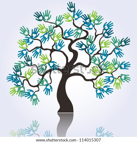 symbolic tree with colorful loving hands raster