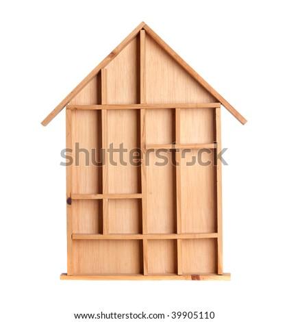 Symbolic wooden house isolated on white background
