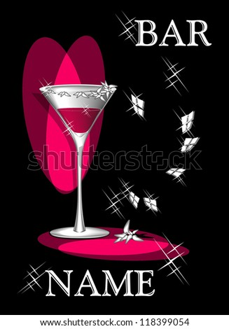 Symbolical composition Cocktail of love for advertising of bar - stock photo