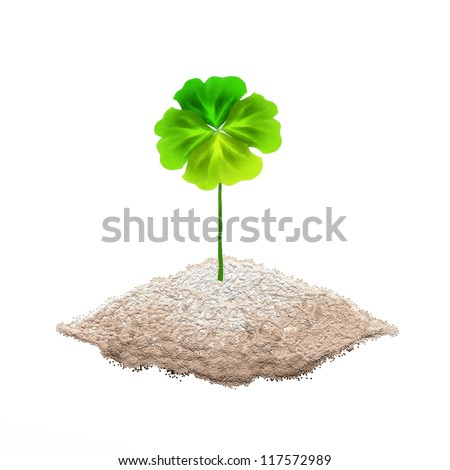 Symbols for Fortune and Luck, Hand Drawing of A Fresh Four Leaf Clover Plant or Shamrock on The ground