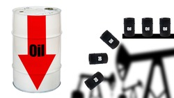 Symbols of cheapening oil. Inscription oil on metal barrels. Barrels fall from a height. Red arrow on an petrolium barrel. Concept - a drop in oil prices. Crisis in the petrolium market. Hydrocarbon