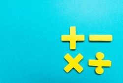 Symbols of Four fundamental operations, addition, subtraction, multiplication, division