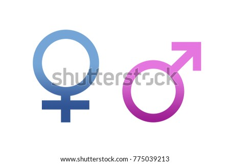 Isolated Gender Pink Women And Blue Man Symbols Icons Flat