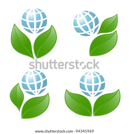 Symbols of globe with the plant