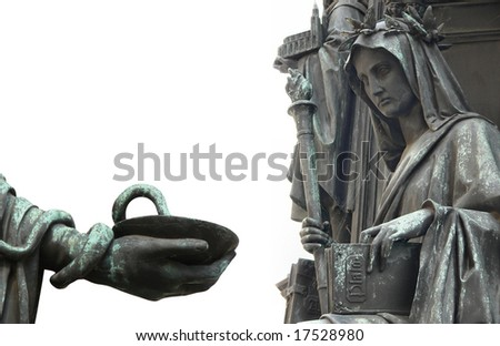 Symbols of Medicine and Philosophy, Knights of the Cross, Prague - stock photo