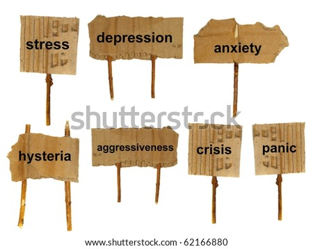 symbols of mental disorders on cardboard, isolated on a white surface