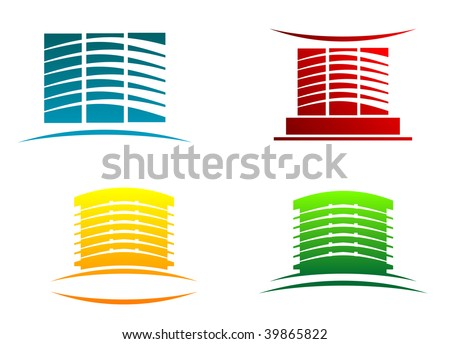 Symbols of modern buildings for design - abstract emblem or logo template. Vector version also available