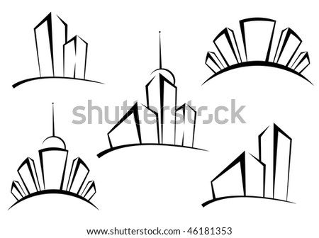Symbols of modern buildings for design as a real estate concept - also as emblem or logo template. Vector version is also available